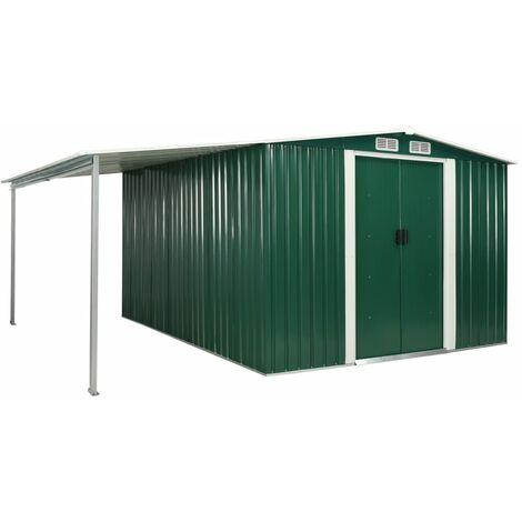 vidaXL Garden Shed with Sliding Doors Green 386x312x178 cm Steel - Green