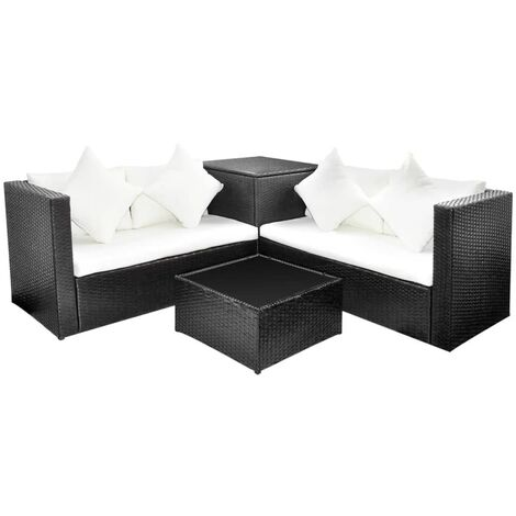 4 Piece Garden Lounge Set with Cushions Poly Rattan Black