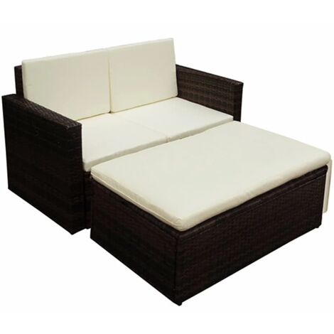 2 Piece Garden Lounge Set with Cushions Poly Rattan Brown