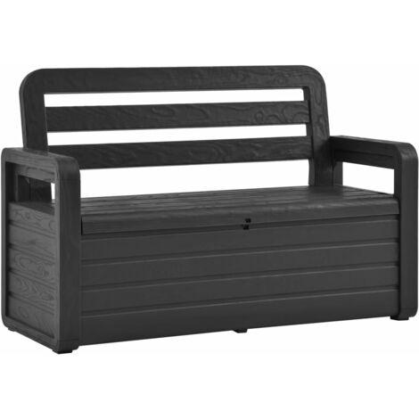 vidaXL Garden Storage Bench 132.5 cm Plastic Anthracite - Anthracite