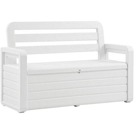 vidaXL Garden Storage Bench 132.5 cm Plastic White - White