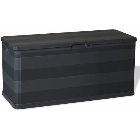 vidaXL Garden Storage Box 280 L Outdoor Chest Cushion Shed Black/Light Grey
