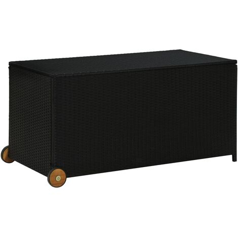 vidaXL Garden Storage Box Black 130x65x115 cm Poly Rattan - Black