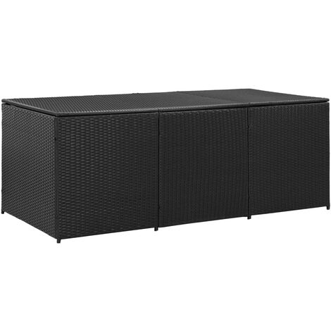 vidaXL Garden Storage Box Poly Rattan 180x90x75 cm Black - Black