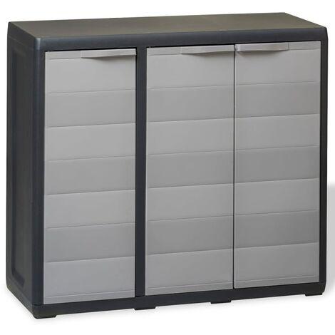 vidaXL Garden Storage Cabinet Tool Organiser Locker Shed Tool Cabinet Storage Shed Outdoor with 1/2/3/4 Shelves Black/Black and Grey