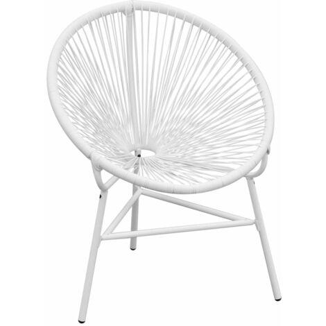 vidaXL Garden String Moon Chair Poly Rattan White - White