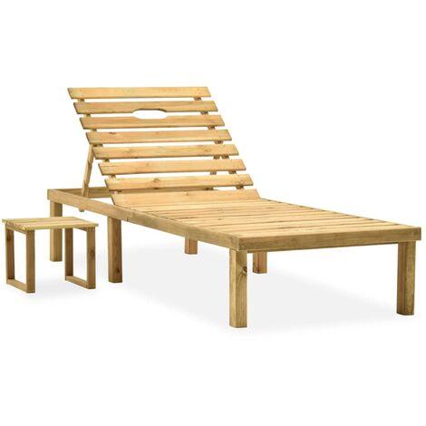 vidaXL Garden Sun Lounger with Table Impregnated Pinewood - Brown
