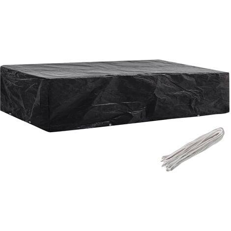 "main image of ""vidaXL Garden Furniture Covers 2pcs 4 Person Poly Rattan 113x113cm - Black"""