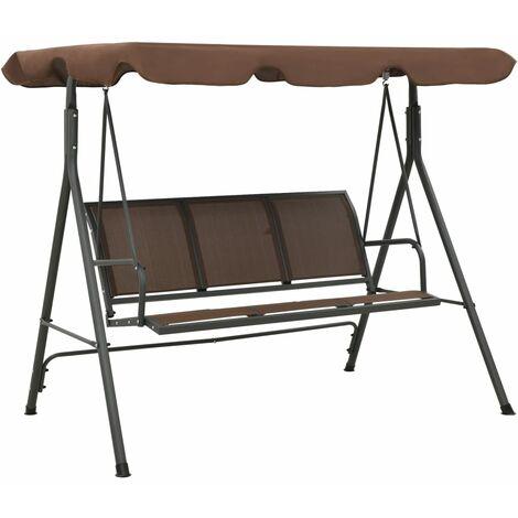 vidaXL Garden Swing Bench with Canopy Coffee - Brown