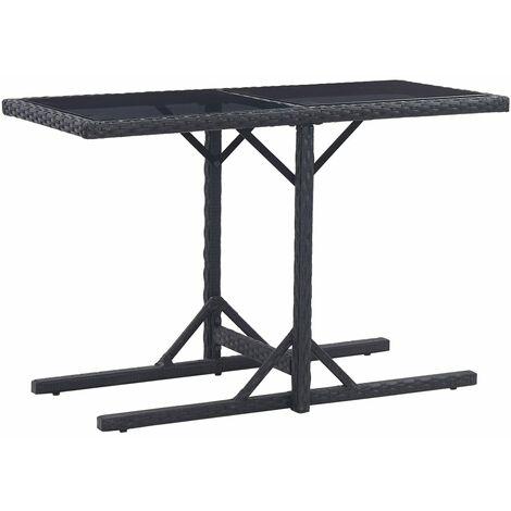vidaXL Garden Table 110x53x72 cm Glass and Poly Rattan Black - Black