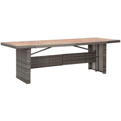 vidaXL Garden Table 240x90x74 cm Poly Rattan and Solid Acacia Wood - Brown