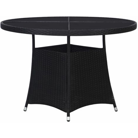 vidaXL Garden Table Black 110x74 cm Poly Rattan - Black