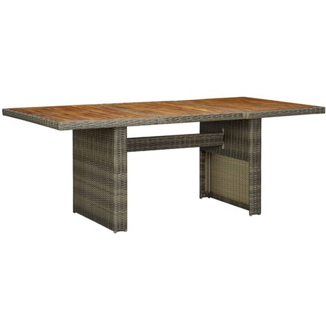 vidaXL Garden Table Brown Poly Rattan and Solid Acacia Wood - Brown