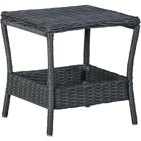 vidaXL Garden Table Dark Grey 45x45x46.5 cm Poly Rattan - Grey