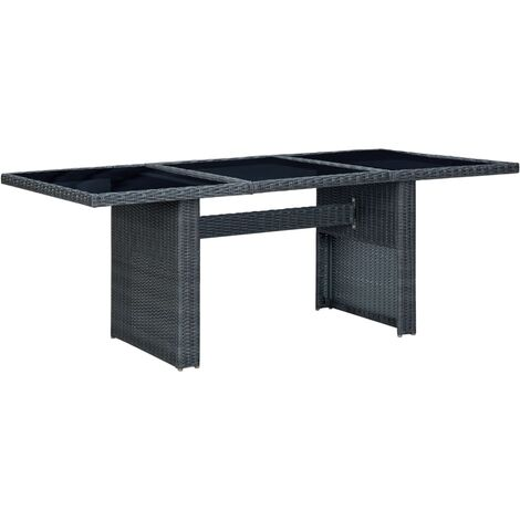 vidaXL Garden Table Dark Grey Poly Rattan and Tempered Glass - Grey