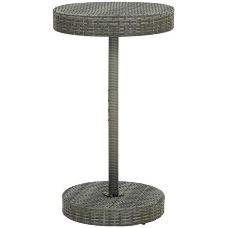 vidaXL Garden Table Grey 60.5x106 cm Poly Rattan - Grey