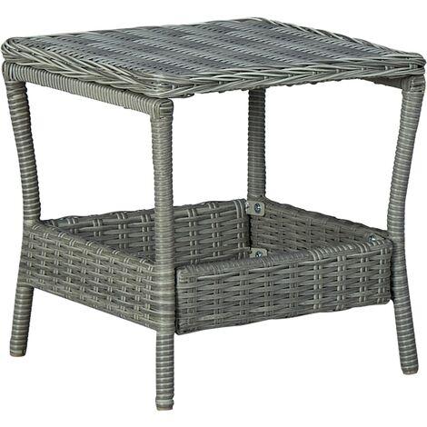 vidaXL Garden Table Light Grey 45x45x46.5 cm Poly Rattan - Grey