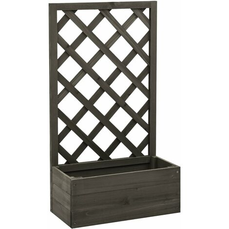 vidaXL Garden Trellis Planter Grey 50x25x90 cm Solid Firwood - Grey