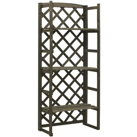 vidaXL Garden Trellis Planter with Shelves Grey 60x30x140 cm Solid Firwood - Grey