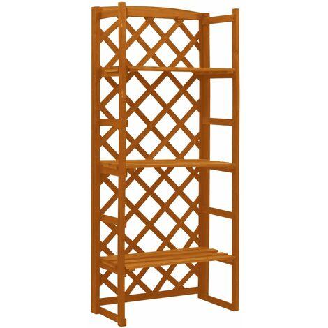 vidaXL Garden Trellis Planter with Shelves Orange 60x30x140 cm Solid Firwood - Orange