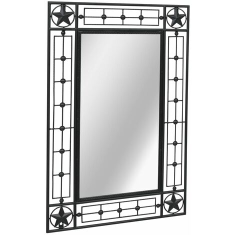 vidaXL Garden Wall Mirror Living Room Hallway Home Decoration Outdoor Furniture Window Illusion Decor Rectangular Black 50x80 cm/60x110 cm