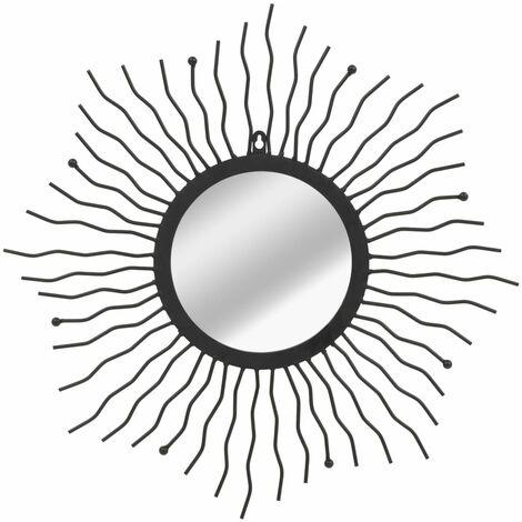 vidaXL Garden Wall Mirror Sunburst Black Outdoor Window Illusion 60cm/80cm