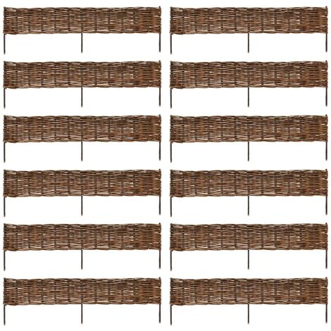 vidaXL Garden Willow Border Fence 12 pcs 120 x 35 cm - Brown