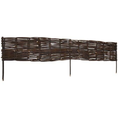 vidaXL Garden Willow Border Fences 10 pcs 120 x 35 cm - Brown