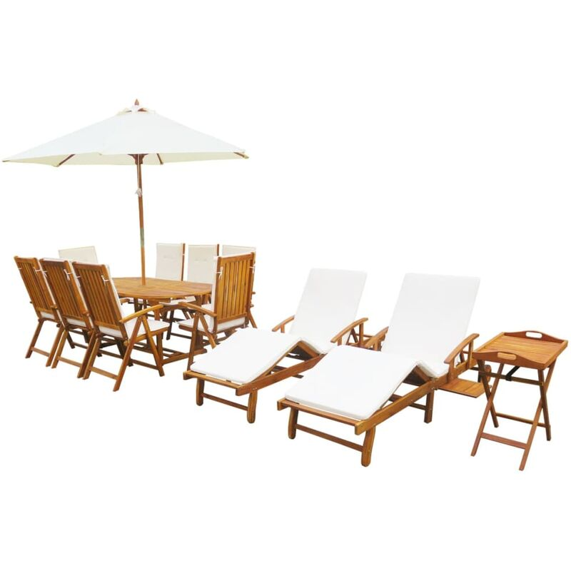 Gartenmöbel 13-tlg. Akazie Massivholz mit Auflagen - VIDAXL