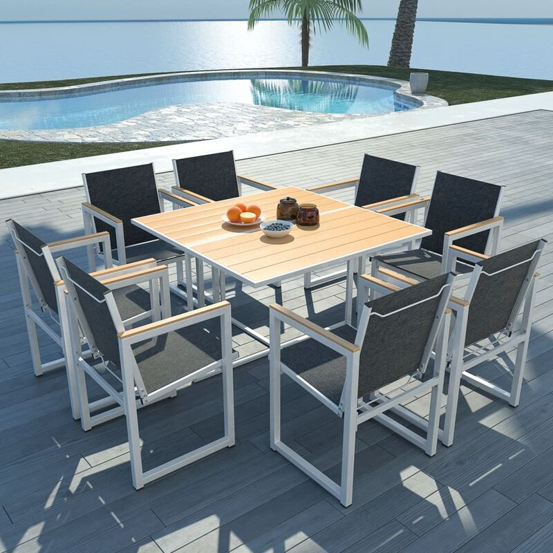Gartenmöbel mit WPC-Tischplatte Aluminium 9-tlg. - VIDAXL