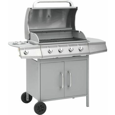 vidaXL Gas Barbecue Grill 4+1 Cooking Zone Silver - Silver