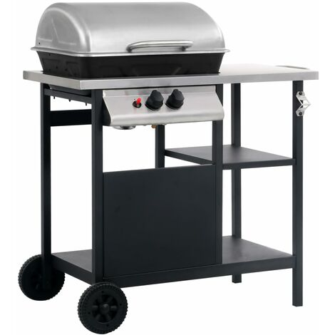 """main image of """"vidaXL Gas BBQ Grill with 3-layer Side Table Black and Silver - Black"""""""