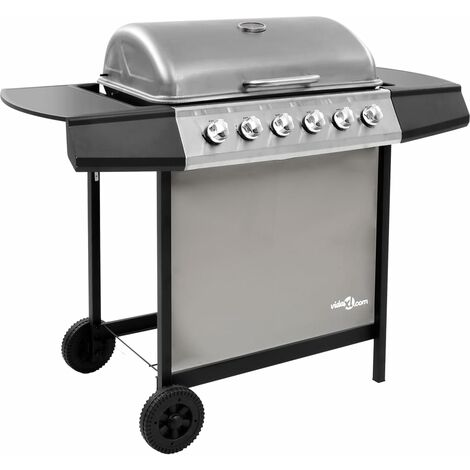 vidaXL Gas BBQ Grill with 6 Burners Black and Silver - Silver