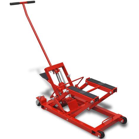 VidaXL Gato hidraulico de motocicleta/ATV 680 kg rojo