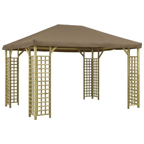 vidaXL Gazebo 4x3 m Taupe - Brown