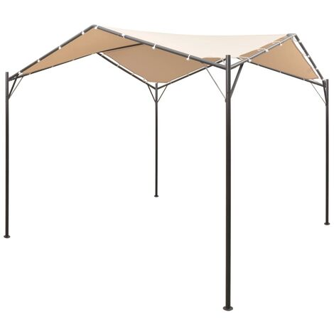 vidaXL Gazebo Pavilion Tent Canopy Steel Beige Canopy Shelter Outdoor Patio Garden Party Camping Marquee Wedding Pop Up Tent 4x4/3x3 m