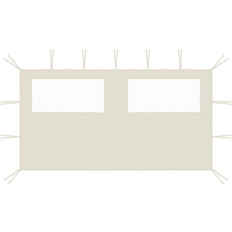 vidaXL Gazebo Sidewall with Windows 4x2 m Cream - Cream