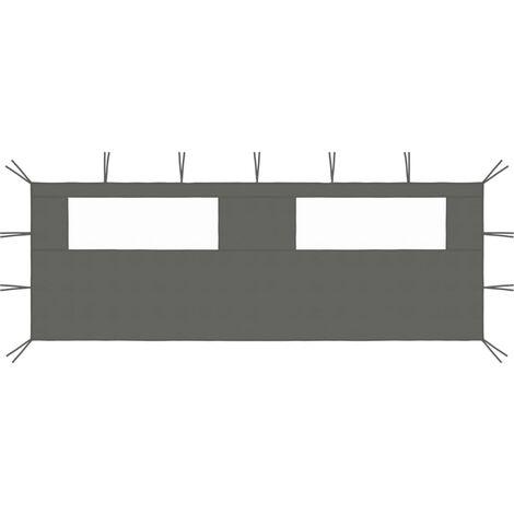 vidaXL Gazebo Sidewall with Windows 6x2 m Anthracite - Anthracite