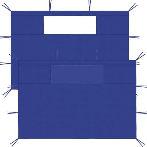 vidaXL Gazebo Sidewalls with Windows 2 pcs Blue - Blue
