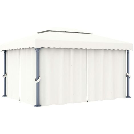 vidaXL Gazebo with Curtain 4x3 m Cream White Aluminium - Cream
