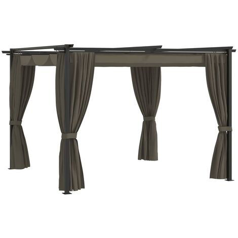 vidaXL Gazebo with Curtains 3x3 m Taupe Steel - Taupe