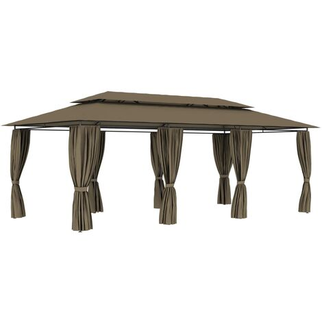 vidaXL Gazebo with Curtains 600x298x270 cm Taupe 180 g/m² - Taupe