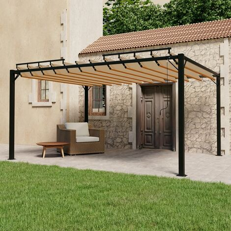 """main image of """"vidaXL Gazebo with Louvered Roof 3x4 m Taupe Fabric and Aluminium - Taupe"""""""