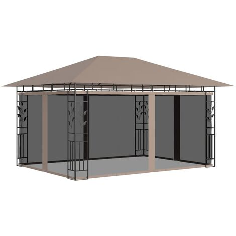 """main image of """"vidaXL Gazebo with Mosquito Net 4x3x2.73 m Taupe 180 g/m² - Taupe"""""""