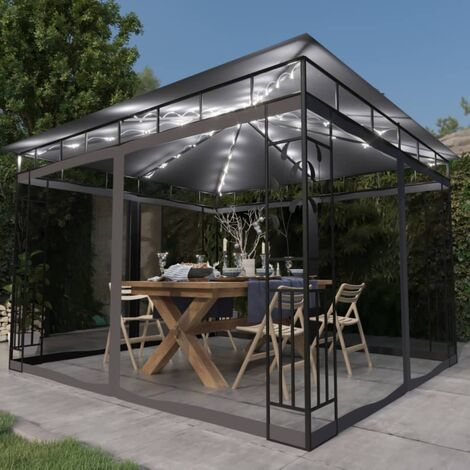 vidaXL Gazebo with Mosquito Net and String Lights 3x3x2.73 m Anthracite 180 g/m² - Anthracite