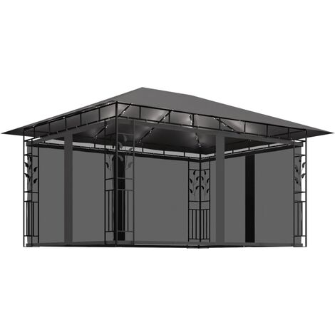 vidaXL Gazebo with Mosquito Net and String Lights 4x3x2.73 m Anthracite 180 g/m² - Anthracite