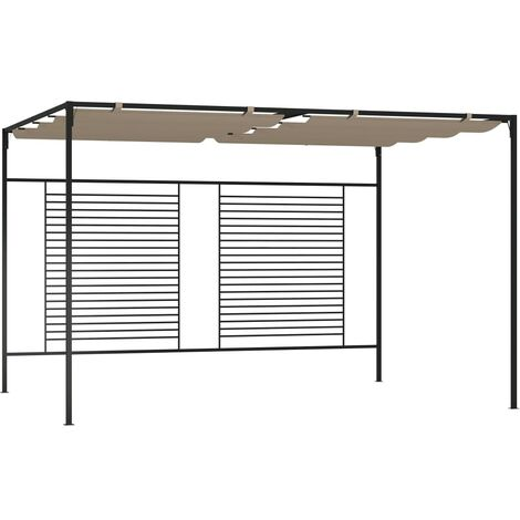 vidaXL Gazebo with Retractable Roof 3x4x2.3 m Taupe 180 g/m² - Taupe