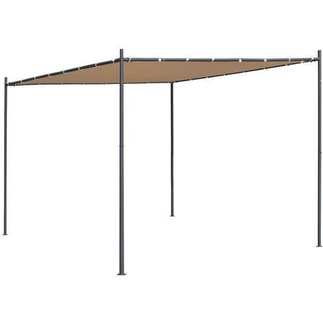 vidaXL Gazebo with Slanted Roof 300x300x251 cm Beige 180 g/m² - Beige