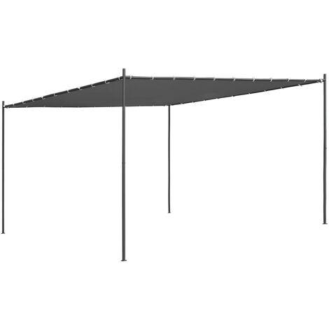 vidaXL Gazebo with Slanted Roof 400x400x264 cm Anthracite 180 g/m² - Anthracite