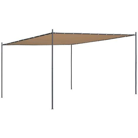 vidaXL Gazebo with Slanted Roof 400x400x264 cm Beige 180 g/m² - Beige